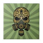 Cráneo apocalíptico del azúcar del poste verde azulejos ceramicos