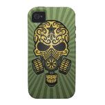 Cráneo apocalíptico del azúcar del poste, verde ca iPhone 4 carcasa