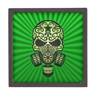 Cráneo apocalíptico del azúcar del poste verde cajas de regalo de calidad