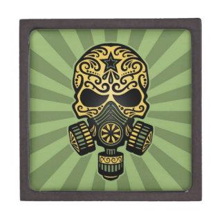 Cráneo apocalíptico del azúcar del poste verde caja de recuerdo de calidad