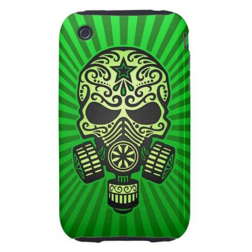 Cráneo apocalíptico del azúcar del poste, verde tough iPhone 3 fundas