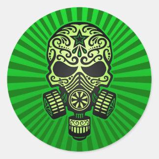 Cráneo apocalíptico del azúcar del poste, verde pegatina redonda