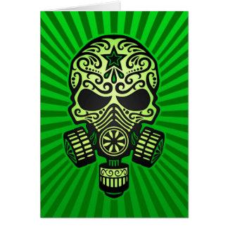 Cráneo apocalíptico del azúcar del poste, verde tarjeta de felicitación