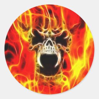Cráneo ardiente de Belphegor Etiquetas Redondas