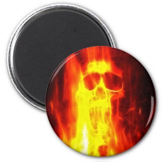Cráneo ardiente de la agonía imán redondo 5 cm