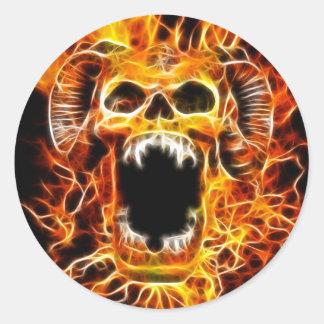 Cráneo ardiente del Amon Pegatina Redonda