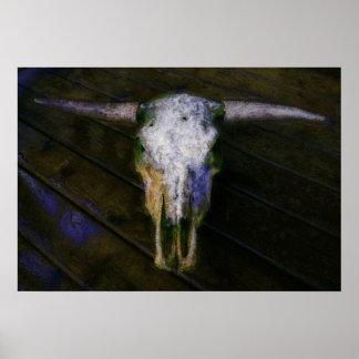 Cráneo artístico de la vaca con el poster de los c
