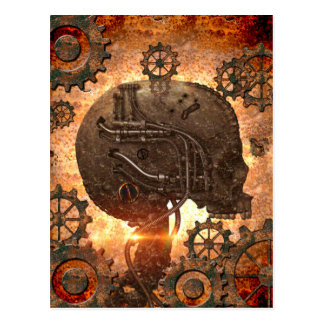 Cráneo asombroso del steampunk con los engranajes tarjetas postales