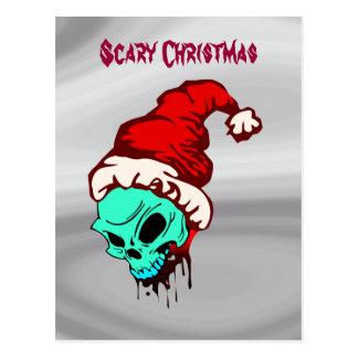 Cráneo asustadizo de Santa del navidad Tarjetas Postales