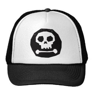 Cráneo asustadizo en círculo negro gorros