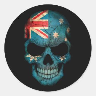 Cráneo australiano adaptable de la bandera pegatina redonda