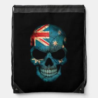 Cráneo australiano de la bandera en negro mochilas