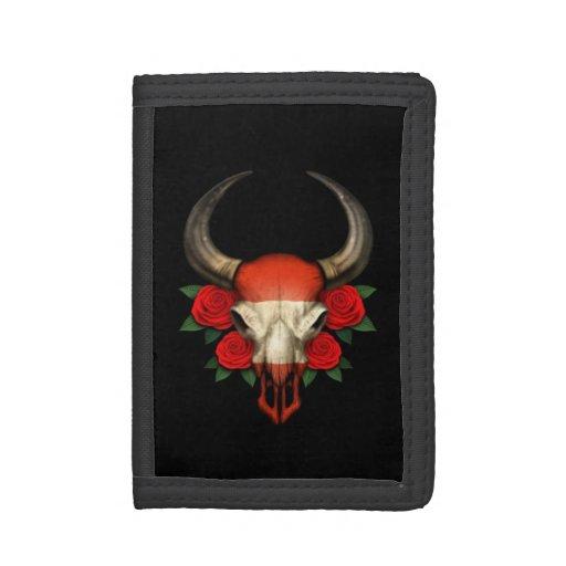 Cráneo austríaco de Bull de la bandera con los ros