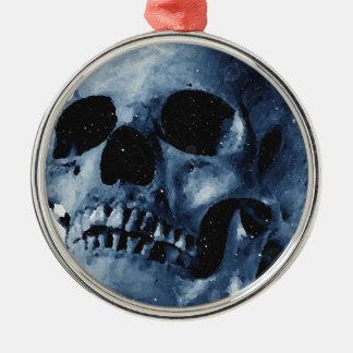 Cráneo azul adorno navideño redondo de metal