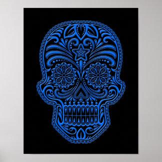 Cráneo azul complejo del azúcar en negro póster
