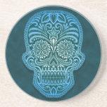 Cráneo azul complejo del azúcar posavasos manualidades