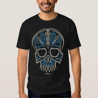 cráneo azul de la tela a rayas - frente solamente remeras