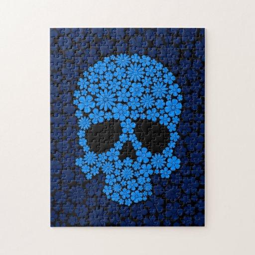 Cráneo azul de las flores salvajes puzzle con fotos