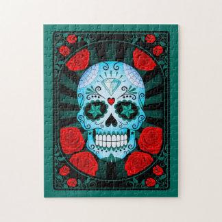 Cráneo azul del azúcar con el poster de los rosas rompecabezas