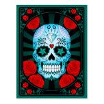 Cráneo azul del azúcar con el poster de los rosas postal