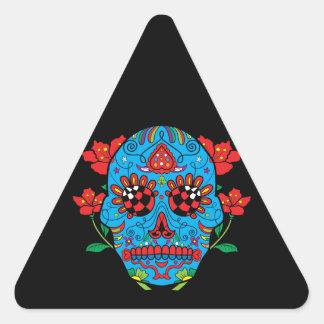 Cráneo azul del azúcar con el tatuaje de los ojos pegatina triangular
