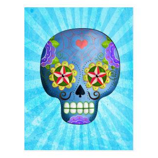 Cráneo azul del azúcar con los bigotes tarjetas postales