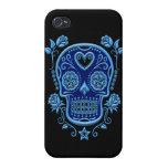 Cráneo azul del azúcar con los rosas en negro iPhone 4 cárcasa