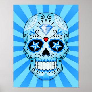 Cráneo azul del azúcar del diamante póster