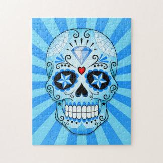 Cráneo azul del azúcar del diamante puzzles con fotos