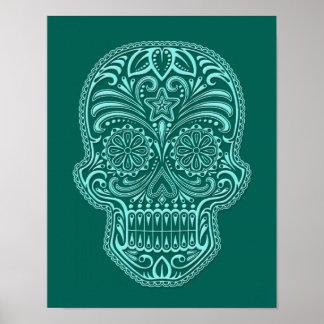 Cráneo azul del azúcar del trullo complejo póster