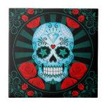 Cráneo azul del azúcar del vintage con el poster d azulejo ceramica