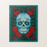 Cráneo azul del azúcar del vintage con el poster d rompecabezas con fotos