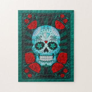 Cráneo azul del azúcar del vintage con el poster d puzzles