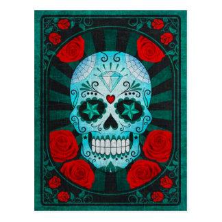 Cráneo azul del azúcar del vintage con el poster d postal