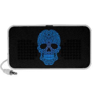 Cráneo azul del azúcar que remolina en negro iPod altavoces