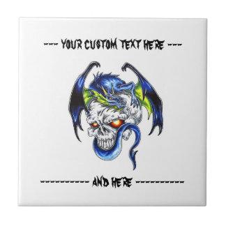 Cráneo azul del dragón del dibujo animado del símb tejas