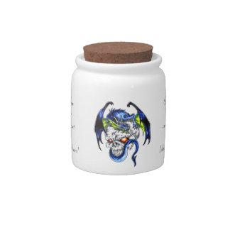 Cráneo azul del dragón del dibujo animado del símb platos para caramelos