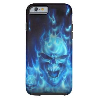 Cráneo azul del fuego funda para iPhone 6 tough