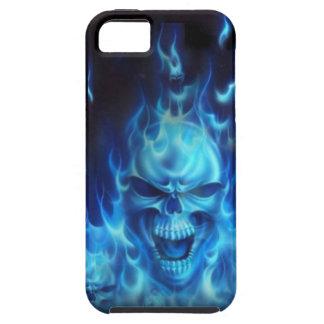 Cráneo azul del fuego iPhone 5 funda