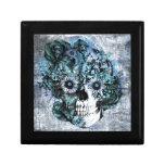 Cráneo azul del girasol del ohmio del grunge cajas de recuerdo