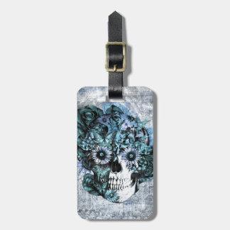Cráneo azul del girasol del ohmio del grunge etiquetas de equipaje