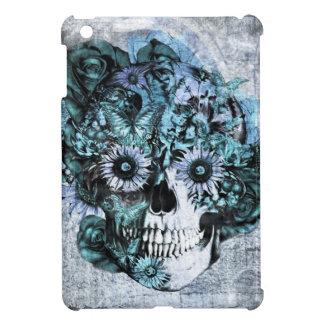 Cráneo azul del girasol del ohmio del grunge iPad mini fundas