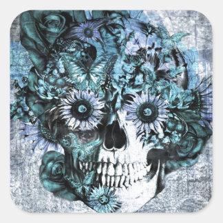 Cráneo azul del girasol del ohmio del grunge colcomania cuadrada