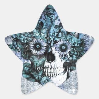 Cráneo azul del girasol del ohmio del grunge