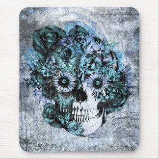 Cráneo azul del girasol del ohmio del grunge alfombrillas de ratón