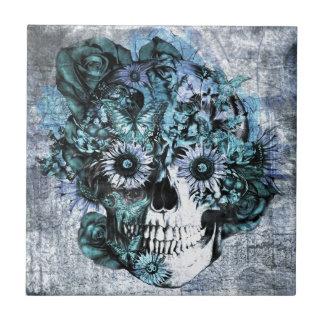 Cráneo azul del ohmio del grunge con los rosas azulejo cuadrado pequeño