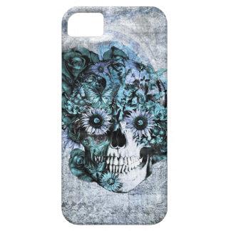 Cráneo azul del ohmio del grunge con los rosas iPhone 5 Case-Mate cárcasas