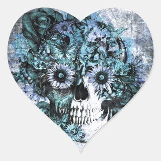 Cráneo azul del ohmio del grunge con los rosas colcomanias corazon personalizadas