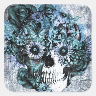 Cráneo azul del ohmio del grunge con los rosas pegatina cuadrada