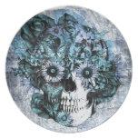 Cráneo azul del ohmio del grunge con los rosas plato de comida